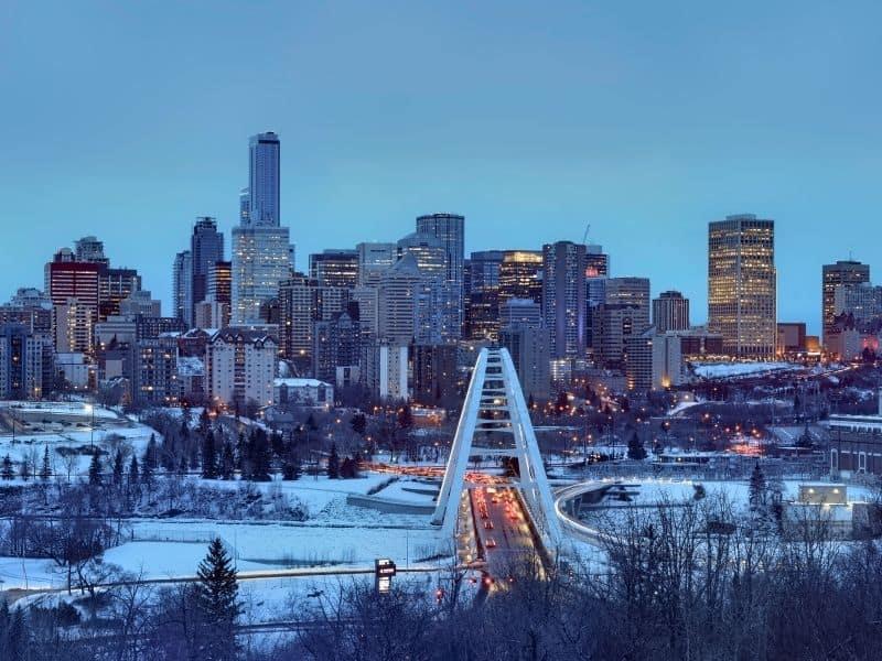 Downtown Edmonton in winter