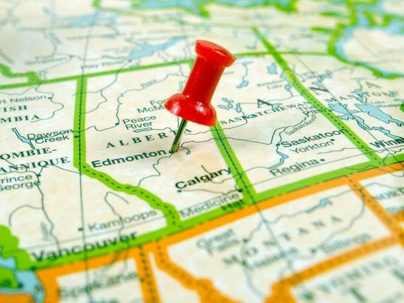 A map of Edmonton